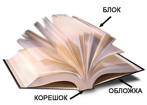 Схематичное изображение блока, корешка и обложки книги